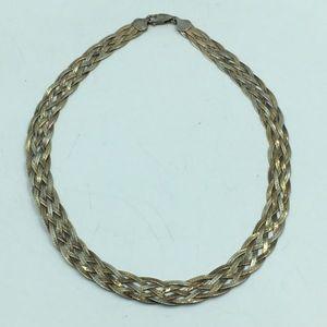 925 Tri-Tone Vtg Woven Braid Herringbone Necklace